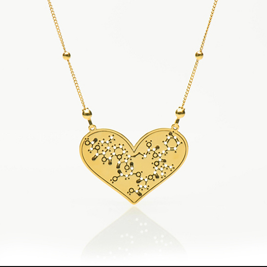 Oxytocin molecule necklace in gold by Delftia Science Jewelry