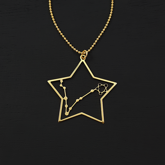 Pisces necklace in gold by Delftia Science Jewelry