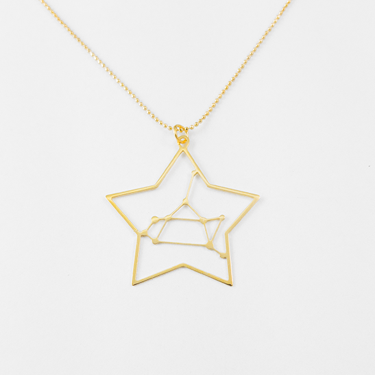 Sagittarius gold constellation necklace by Delftia Science Jewelry