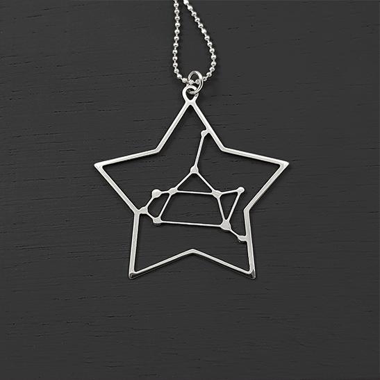 Sagittarius necklace in silver by Delftia Science Jewelry