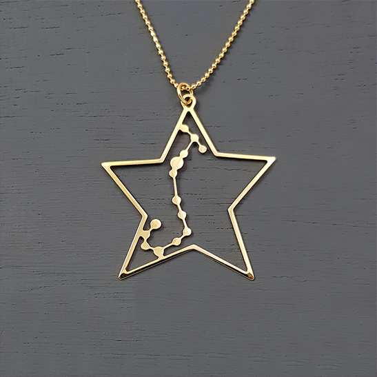 Scorpio necklace in gold by Delftia Science Jewelry