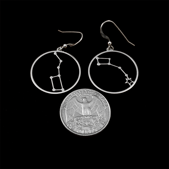 Silver Little Dipper and Big Dipper earrings by Delftia Science Jewelry