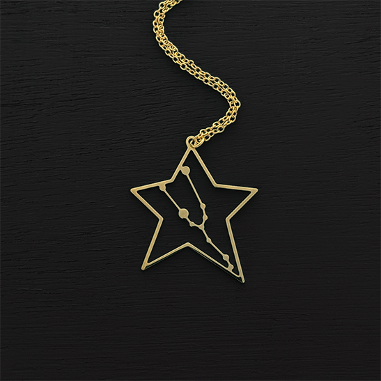Taurus necklace gold constellation by Delftia Science Jewelry
