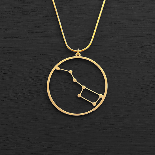 Ursa major constellation gold necklace by Delftia Science Jewelry