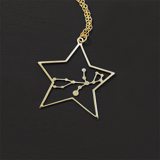 Virgo constellation gold necklace by Delftia Science Jewelry