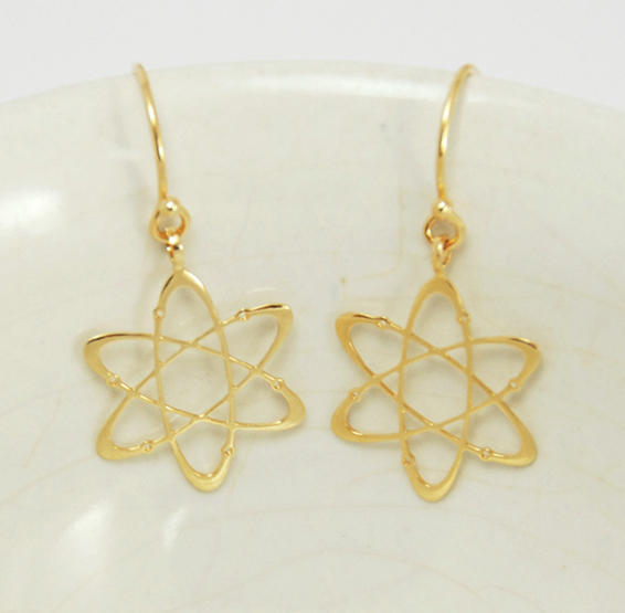 Carbon atom gold earring