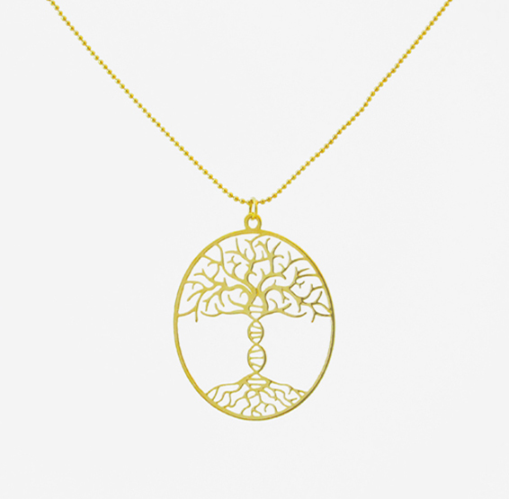 by product in gold plated printed dna nickola rose pendant