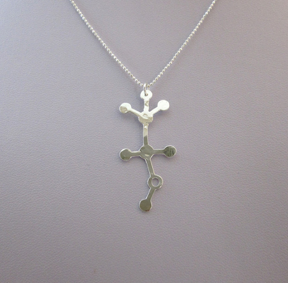 Alcohol Ethanol molecule silver necklace by Delftia