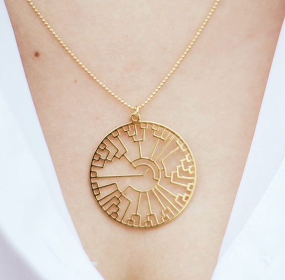Evolution tree Phylogeny necklaceby Delftia science jewelry