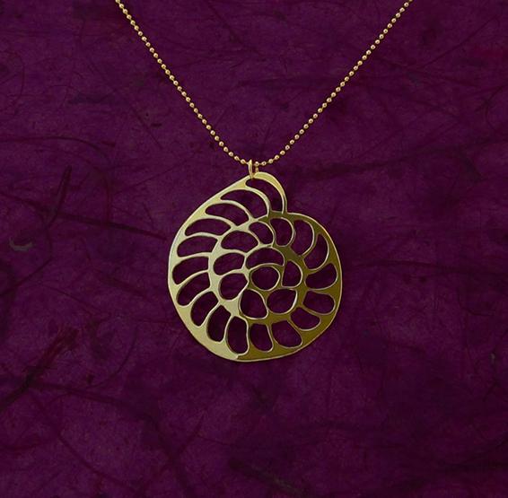 Foraminifera Operculina gold necklace by Delftia jewelry
