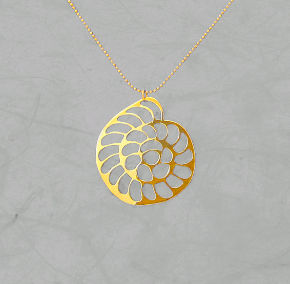Foraminifera Operculina gold necklace by Delftia science jewelry