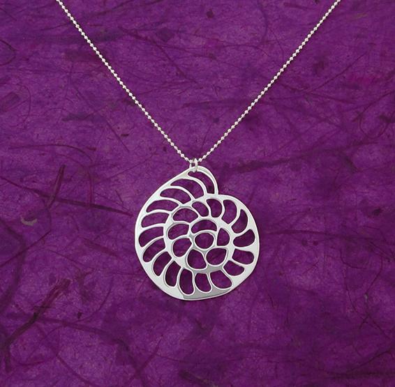 Operculina foraminifera silver necklace by Delftia Science Jewelry