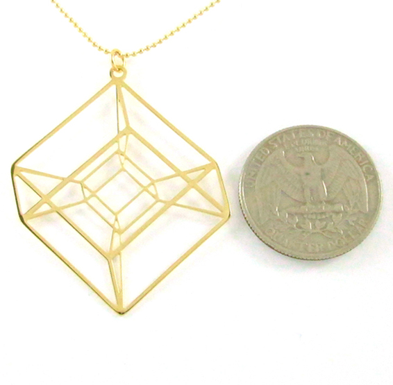 Hypercube necklace in gold by Delftia Science Jewelry