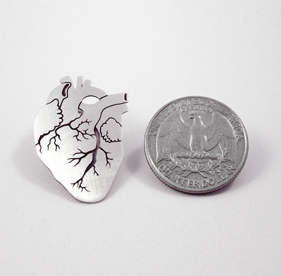 Anatomical heart pin silver