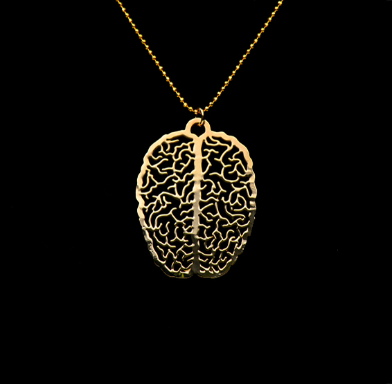 Brain gold necklace by Delftia science jewelry
