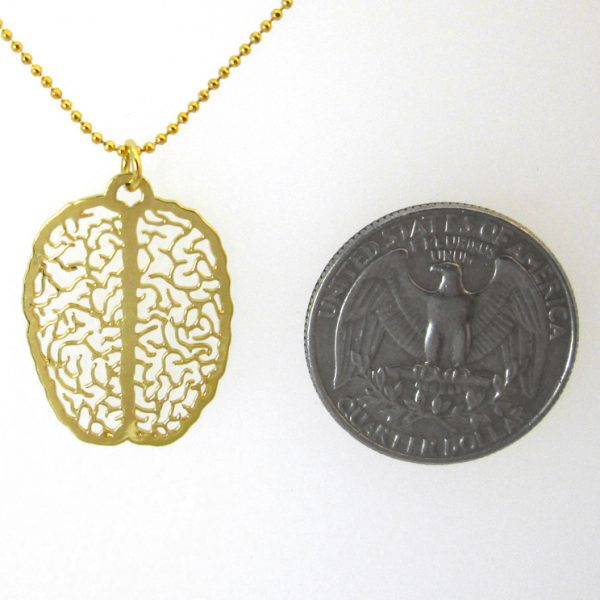 small gold brain necklace by Delftia