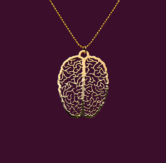 Gold brain necklace by Delftia science jewelry