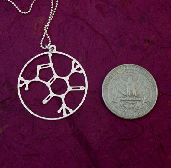 Caffeine molecule silver coin