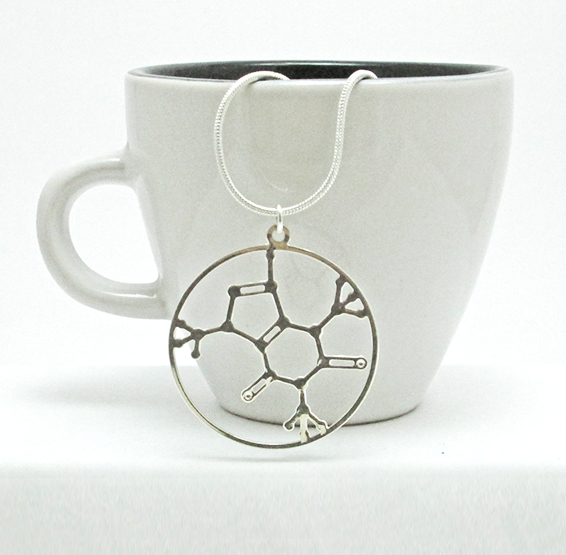 Caffeine molecule silver pendant by Delftia science jewelry