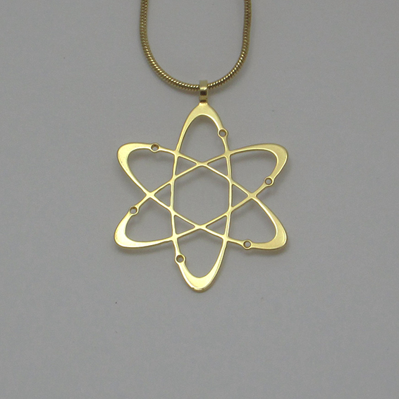 Carbon atom gold necklace by Delftia science jewelry