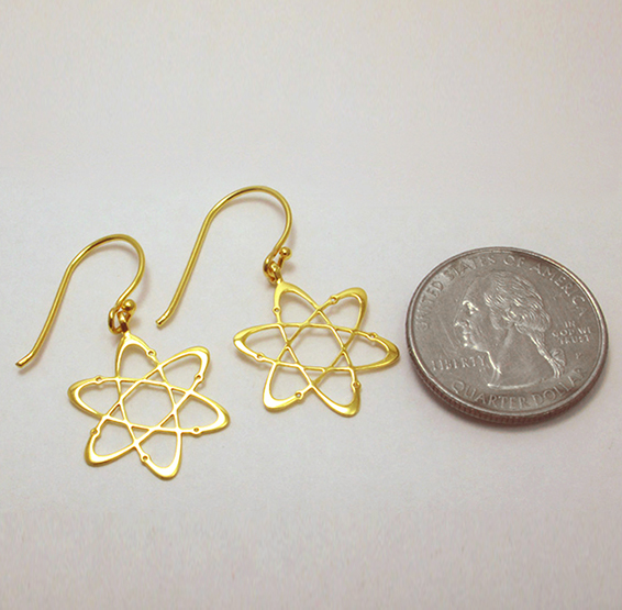 Carbon gold earring coin