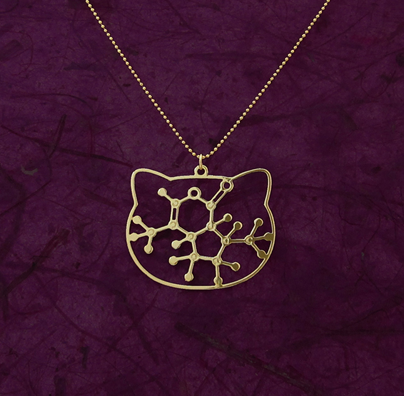 Catnip necklace gold molecule by Delftia Science Jewelry