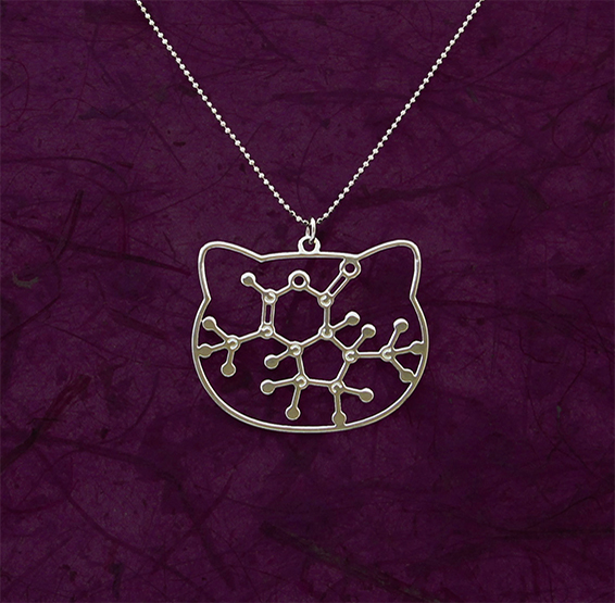 Catnip molecule silver necklace by Delftia science jewelry