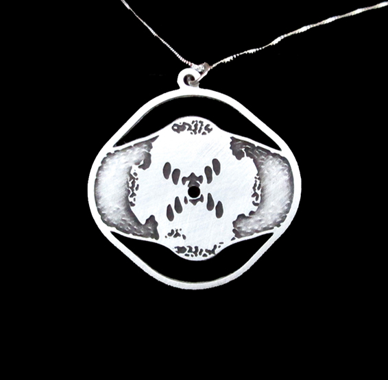 Rosalind Franklin DNA X-ray silver necklace by Delftia jewelry
