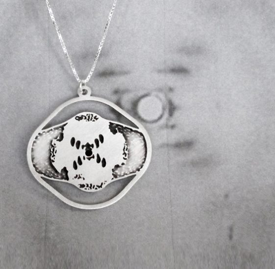 Rosalind Franklin DNA X-ray silver necklace by Delftia science jewelry