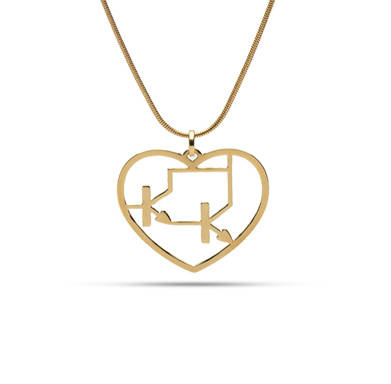 Darlington transistor gold heart necklace, by Delftia science jewelry