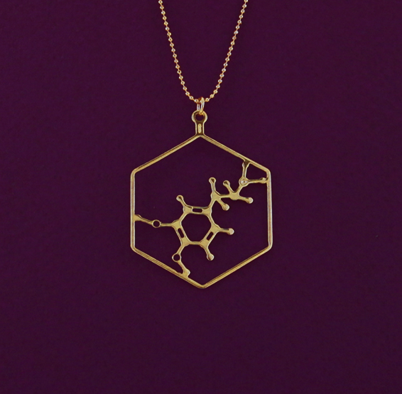 Dopamine molecule gold necklace, by delftia jewelry