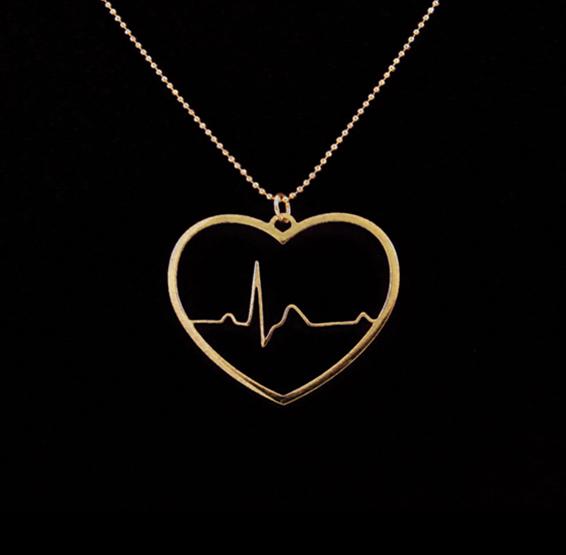 EKG heart in gold