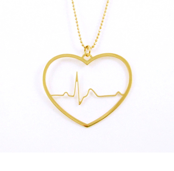 EKG heart in gold
