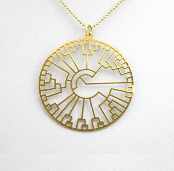 phylogenetic tree, evolution tree gold necklace by Delftia science jewelry