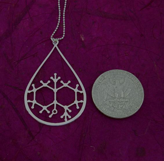 Geosmin molecule in silver, from delftia jewlery