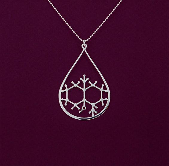 Geosmin molecule scent of rain silver necklace by Delftia science jewlery