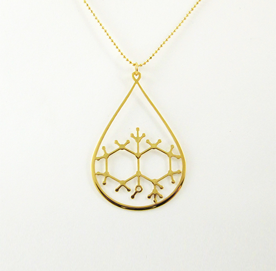 Geosmin molecule in gold, from delftia jewlery