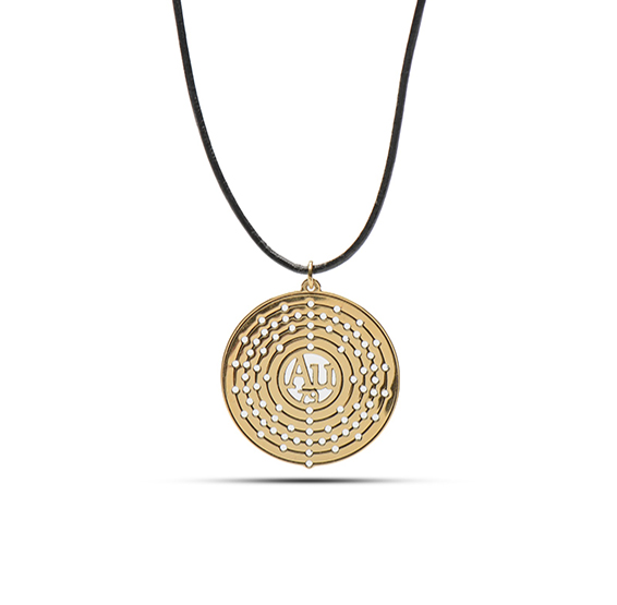 Gold Bohr atom structure Au necklace by Delftia Science Jewelry