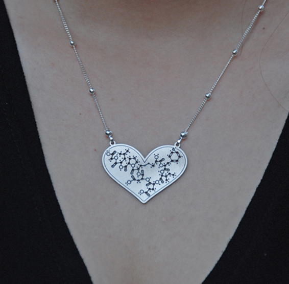 Oxytocin heart silver necklace