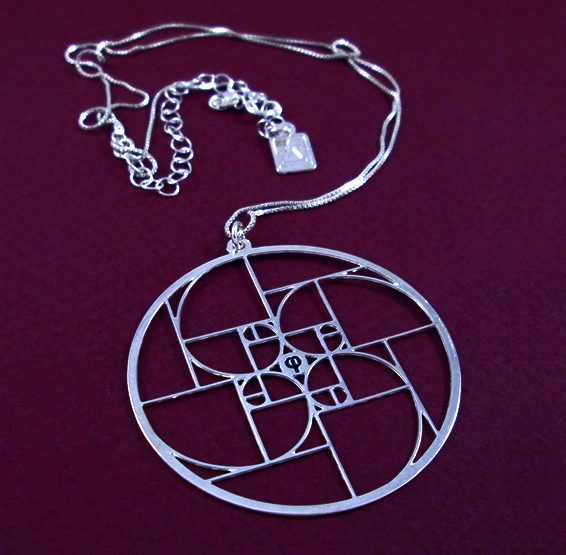Phi Golden ratio spirals silver necklace by Delftia science jewelry