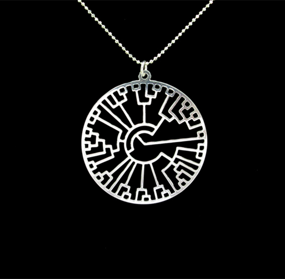 Evolution phylogenetic tree silver necklace by Delftia jewelry