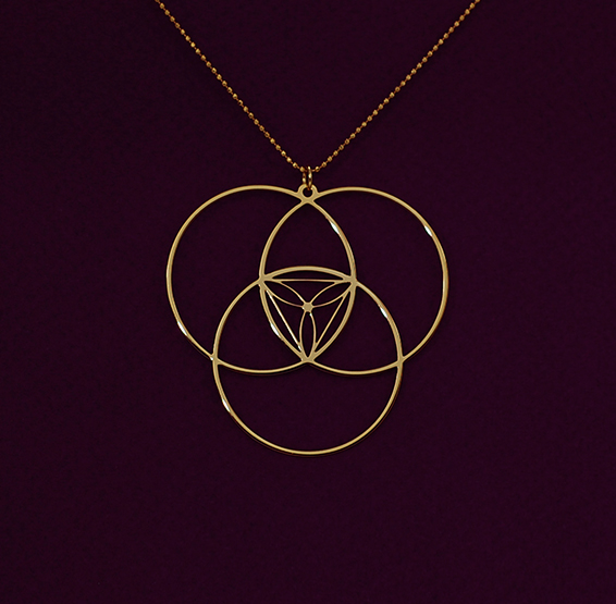 Circles necklace Reuleaux triangle gold by Delftia Science Jewelry