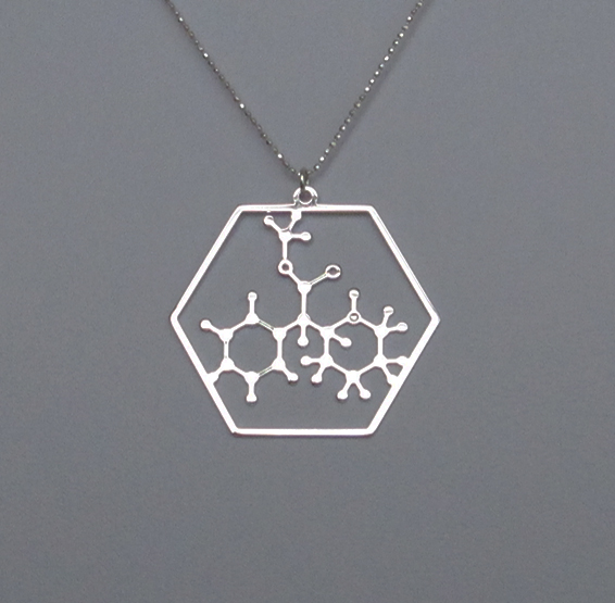 Methylphenidate molecule Ritalin silver necklace by Delftia science jewelry