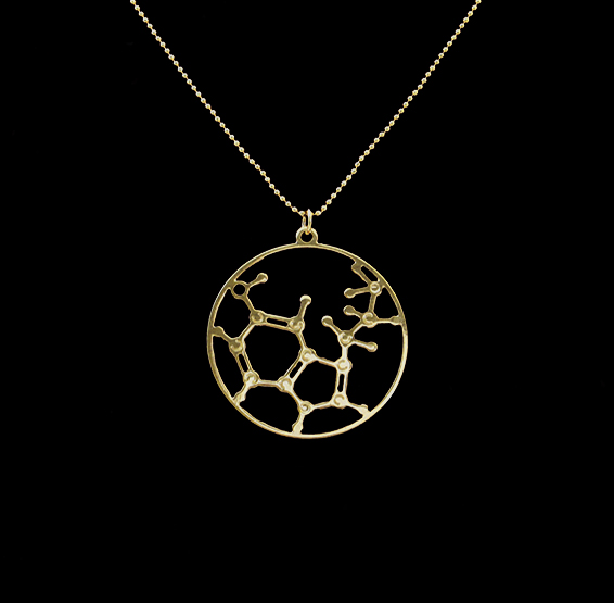 Serotonin molecule necklace by Delftia jewelry