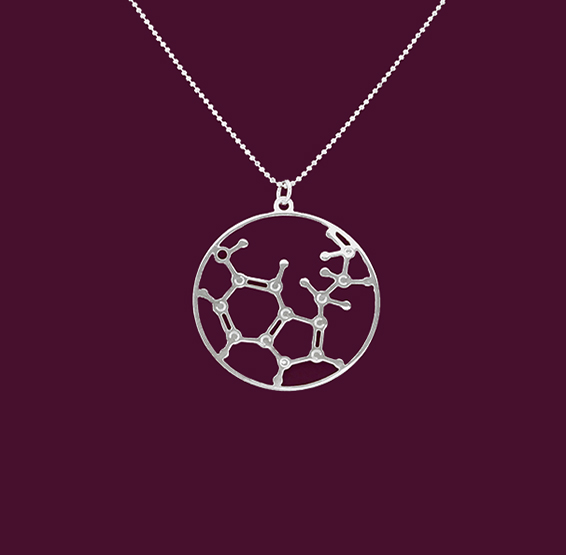 Serotonin molecule silver necklace by Delftia science jewelry