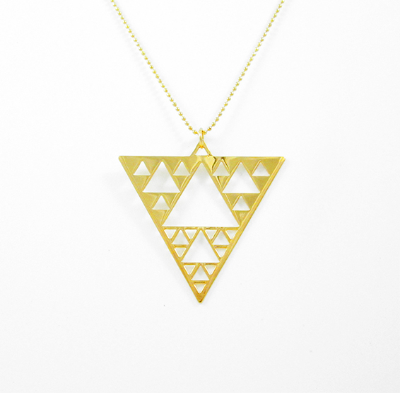 Sierpinski triangle geometry gold necklace by Delftia science jewelry
