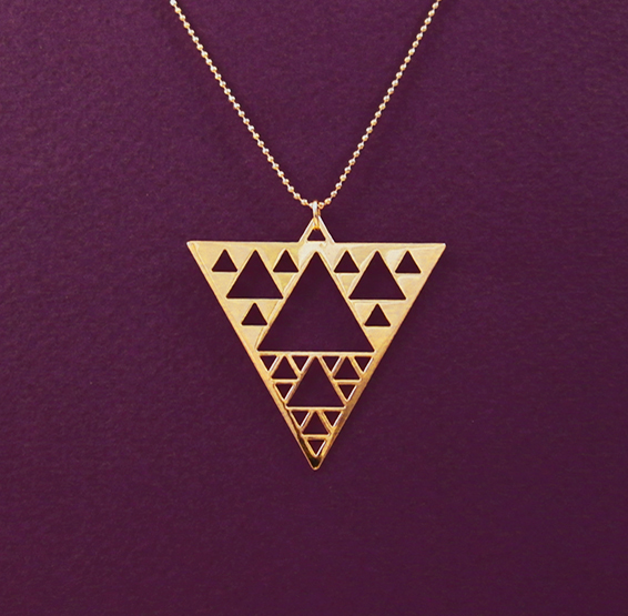 Sierpinski triangle fractal gold necklace by Delftia science jewelry