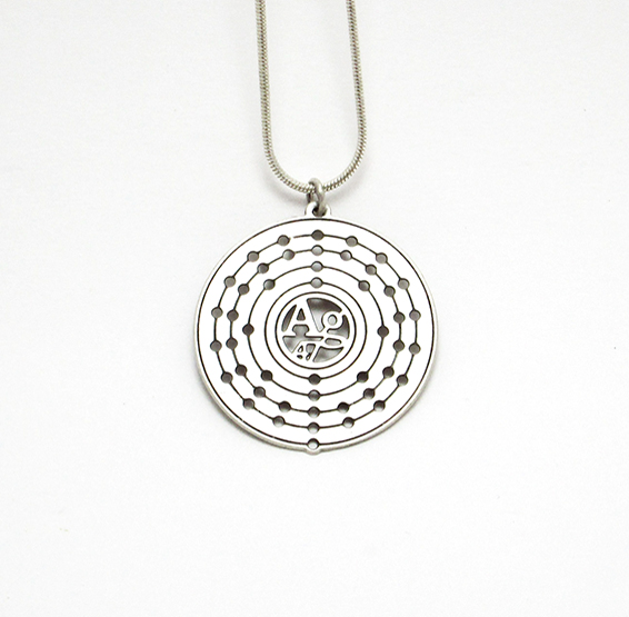 Silver atom Ag necklace white