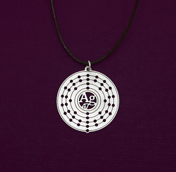 Ag Silver atom necklace leather cord