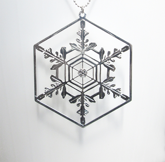 Snowflake crystal silver necklace by Delftia science jewelry